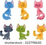 cartoon cats collection. vector ... | Shutterstock .eps vector #323798630