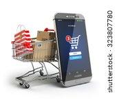 online shopping concept. mobile ... | Shutterstock . vector #323807780