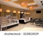 Stock photo  d rendering of a patisserie interior design 323823029
