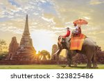tourists on an ride elephant... | Shutterstock . vector #323825486