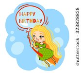 happy birthday girl vector... | Shutterstock .eps vector #323828828