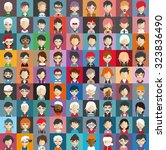 set of people icons in flat... | Shutterstock .eps vector #323836490