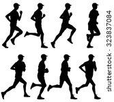 set of silhouettes. runners on... | Shutterstock . vector #323837084