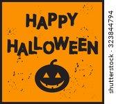 postcard pumpkin on orange...   Shutterstock .eps vector #323844794