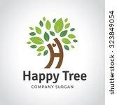 happy tree tree logo h letter... | Shutterstock .eps vector #323849054