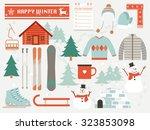 happy winter winter elements... | Shutterstock .eps vector #323853098