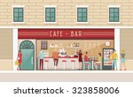 coffee shop and snack bar... | Shutterstock .eps vector #323858006