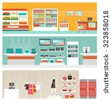 supermarket  electronics store... | Shutterstock .eps vector #323858018