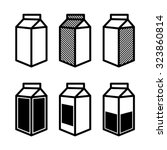 milk and juice box icons set.... | Shutterstock .eps vector #323860814
