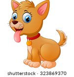 cartoon silly sitting dog with... | Shutterstock . vector #323869370