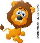 Stock vector cute lion cartoon walking 323870693
