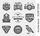 vector set of happy halloween... | Shutterstock .eps vector #323872550