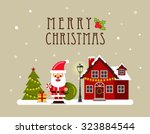 christmas house and santa.... | Shutterstock .eps vector #323884544
