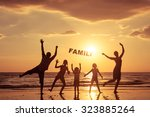 happy family standing on the... | Shutterstock . vector #323885264