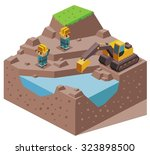 land reclamation. isometric... | Shutterstock .eps vector #323898500