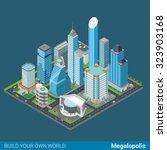 flat 3d isometric megalopolis... | Shutterstock .eps vector #323903168