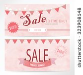 light pink banner with flag | Shutterstock .eps vector #323908148