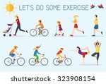 flat design  people exercising... | Shutterstock .eps vector #323908154