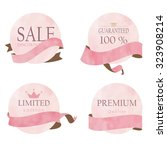 light pink banner with ribbon | Shutterstock .eps vector #323908214