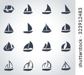 vector black sailboat icon set. | Shutterstock .eps vector #323912483