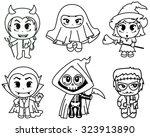 cute halloween characters set | Shutterstock .eps vector #323913890