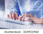hands of businessman working... | Shutterstock . vector #323921960