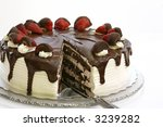 Delicious strawberry chocolate cake - stock photo