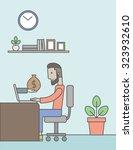 a caucasian hipster businessman ... | Shutterstock .eps vector #323932610