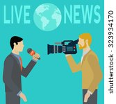 live report news with cameraman ... | Shutterstock .eps vector #323934170