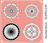 dharma wheel  dharmachakra... | Shutterstock .eps vector #323951159