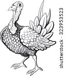 funny turkey in black and white ... | Shutterstock . vector #323953523