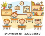 little cartoon kids in the... | Shutterstock .eps vector #323965559