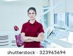 portrait of happy female... | Shutterstock . vector #323965694