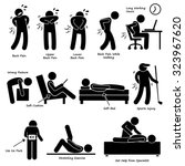 back pain backache pictogram | Shutterstock .eps vector #323967620