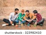 group of hipster best friends... | Shutterstock . vector #323982410