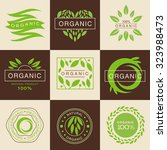 eco organic labels and tags set ... | Shutterstock .eps vector #323988473