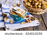 peanut butter on the tip of the ... | Shutterstock . vector #324013250