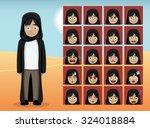 arab teen girl cartoon emotion...