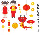 chinese new year icons | Shutterstock .eps vector #324024740