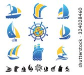 set of nine icons with boats... | Shutterstock .eps vector #324028460