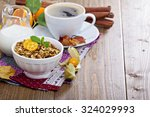 pumpkin breakfast granola with... | Shutterstock . vector #324029993