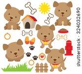 Stock vector cute puppy vector illustration 324032690