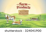 two cows in a landscape and a... | Shutterstock .eps vector #324041900
