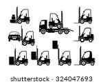 black forklift icons on white... | Shutterstock .eps vector #324047693