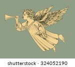retro style christmas angel | Shutterstock .eps vector #324052190