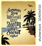 retro vintage summer poster... | Shutterstock .eps vector #324056510
