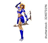 the girl archer in a blue suit... | Shutterstock . vector #324073196