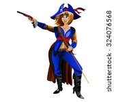 pirate girl with the sword and... | Shutterstock . vector #324076568