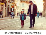 fashionable father and son... | Shutterstock . vector #324079568