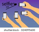 hand to hold the phone and make ... | Shutterstock .eps vector #324095600